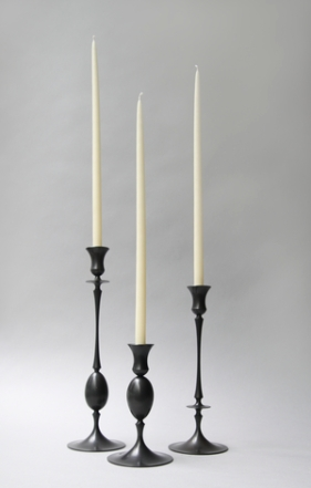 Ted+Muehling+Egg+and+Dart+Candle+Holders+Oxidized+Bronze